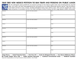 Trap Free New Mexico Petition
